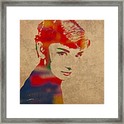 Audrey Hepburn Watercolor Portrait On Worn Distressed Canvas Framed Print