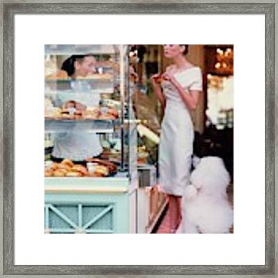 Audrey Marnay At A Patisserie With A Poodle Framed Print by Arthur Elgort