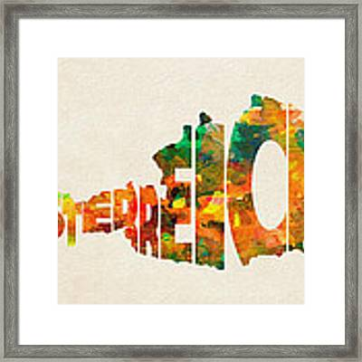 Austria Typographic Watercolor Map Framed Print by Inspirowl Design