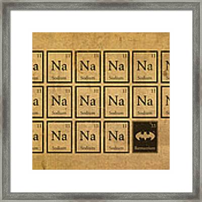 Batmantium Periodic Table Element Chart Nerd Chemistry Student Superhero Humor Framed Print by Design Turnpike