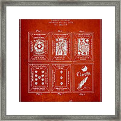 Billings Playing Cards Patent Drawing From 1873 - Red Framed Print by Aged Pixel