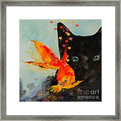 Black Cat And The Goldfish Framed Print
