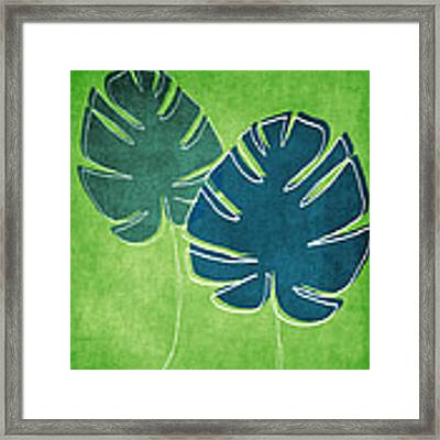 Blue And Green Palm Leaves Framed Print