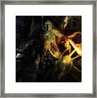 Boba Fett Fighting Off Aliens Framed Print by Kurt Miller