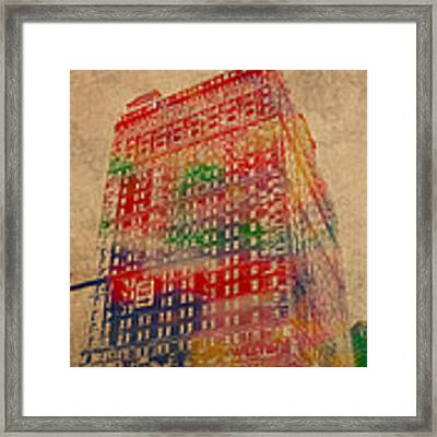 Book Cadillac Iconic Buildings Of Detroit Watercolor On Worn Canvas Series Number 3 Framed Print by Design Turnpike