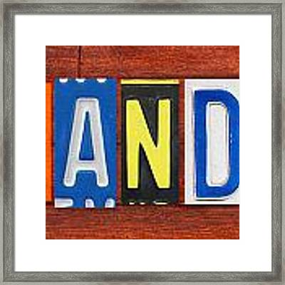 Brandon License Plate Name Sign Fun Kid Room Decor Framed Print