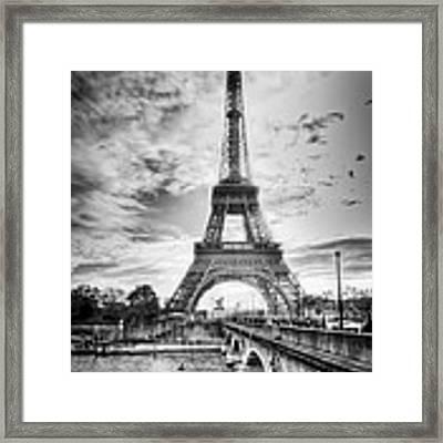 Bridge To The Eiffel Tower Framed Print by John Wadleigh