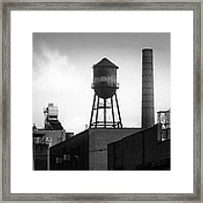 Brooklyn Water Tower And Smokestack - Black And White Industrial Chic Framed Print by Gary Heller