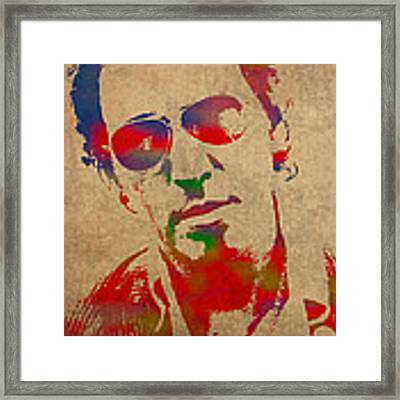 Bruce Springsteen Watercolor Portrait On Worn Distressed Canvas Framed Print