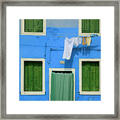 Burano Blue And Green Framed Print