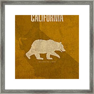 California State Facts Minimalist Movie Poster Art  Framed Print