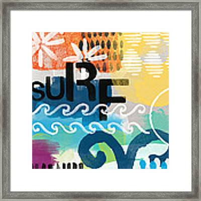 Carousel #7 Surf - Contemporary Abstract Art Framed Print by Linda Woods