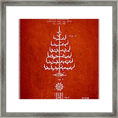 Christmas Tree Patent From 1882 - Red Framed Print
