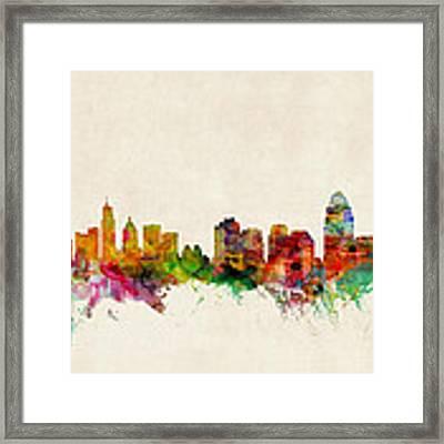 Cincinnati Ohio Skyline Framed Print by Michael Tompsett