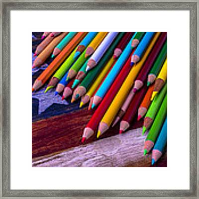 Colored Pencils On Wooden Flag Framed Print