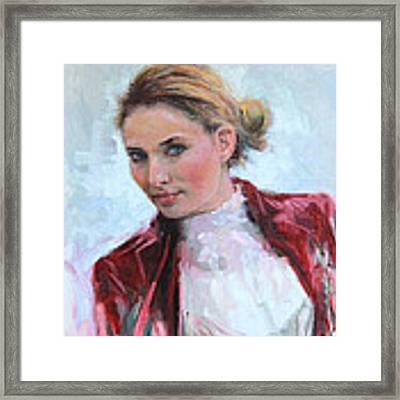 Come A Little Closer Young Woman Portrait Framed Print by Talya Johnson