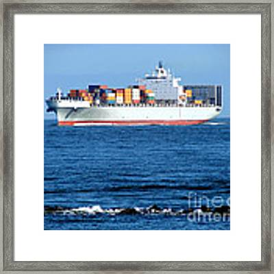 Container Ship Framed Print by Olivier Le Queinec