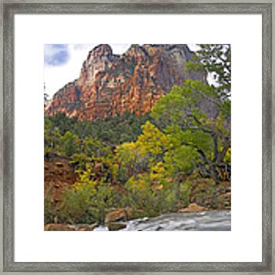 Court Of The Patriarchs Zion Np Utah Framed Print by Tim Fitzharris