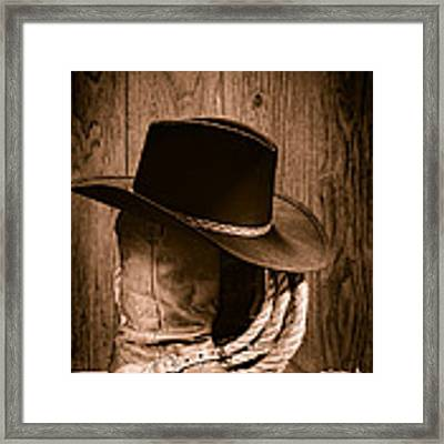 Cowboy Hat And Boots Framed Print
