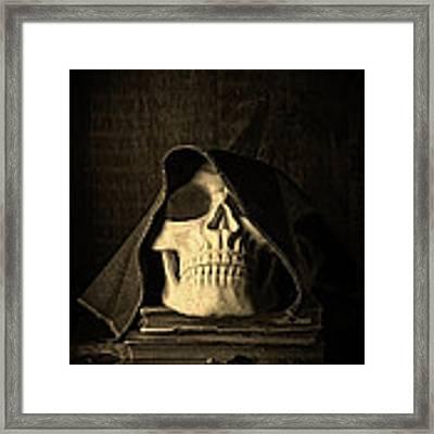 Creepy Hooded Skull Framed Print