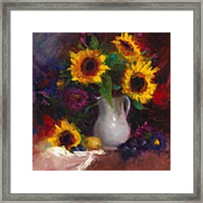 Dance With Me - Sunflower Still Life Framed Print by Talya Johnson