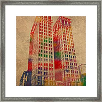 Dime Building Iconic Buildings Of Detroit Watercolor On Worn Canvas Series Number 1 Framed Print