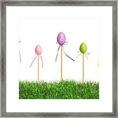 Easter Eggs In Grass Framed Print