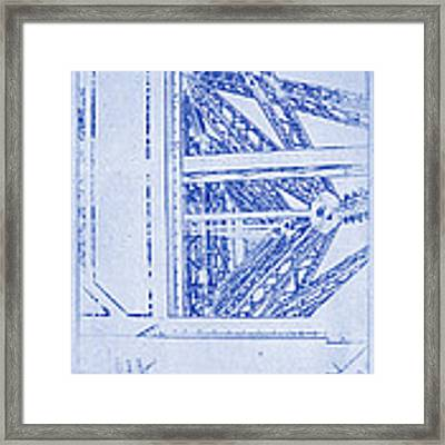 Eiffel Towers Steel Frame Blueprint Framed Print