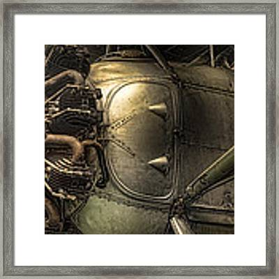Radial Engine And Fuselage Detail - Radial Engine Aluminum Fuselage Vintage Aircraft Framed Print by Gary Heller