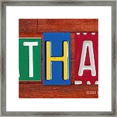 Ethan License Plate Name Sign Fun Kid Room Decor. Framed Print