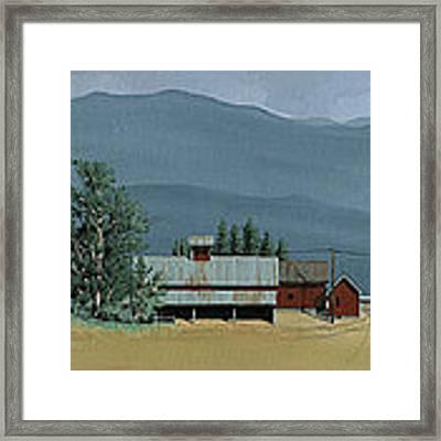 Farm In The Windbreak Framed Print by John Wyckoff