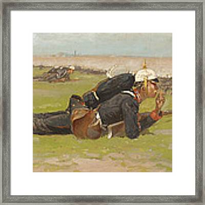 Field Drill For The Prussian Infantry  Framed Print by Frederic Remington