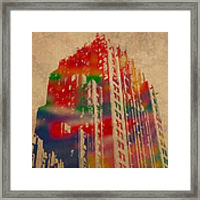 Fisher Building Iconic Buildings Of Detroit Watercolor On Worn Canvas Series Number 4 Framed Print