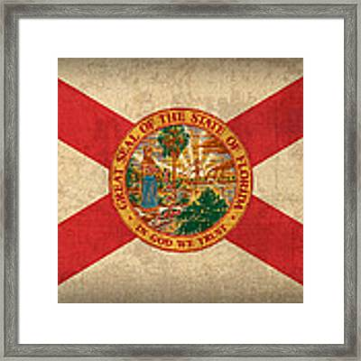 Florida State Flag Art On Worn Canvas Framed Print