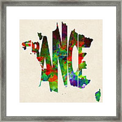 France Typographic Watercolor Map Framed Print
