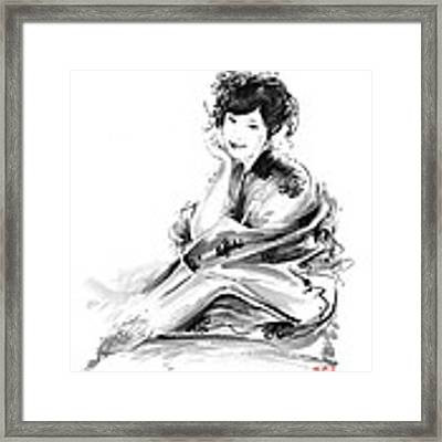 Geisha Geiko Maiko Young Girl Kimono Japanese Japan Woman Sumi-e Original Painting Art Print Framed Print