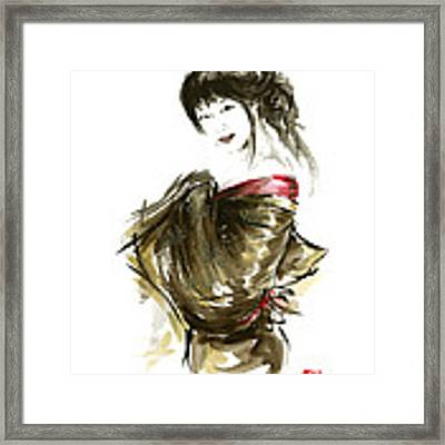 Geisha Gold Kimono Japanese Woman Sumi-e Original Painting Art Print Framed Print by Mariusz Szmerdt