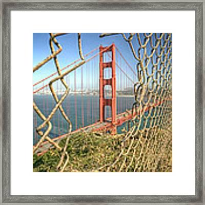 Golden Gate Through The Fence Framed Print