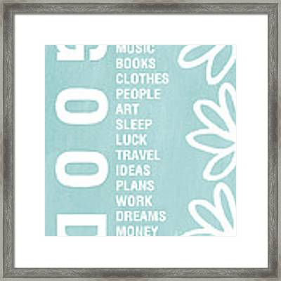Good Things Blue Framed Print