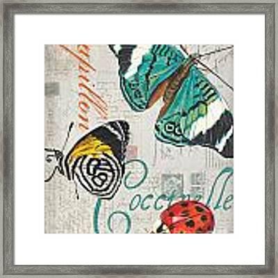Grey Postcard Butterflies 2 Framed Print by Debbie DeWitt