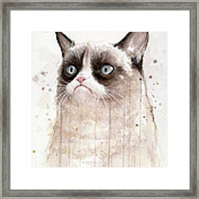 Grumpy Watercolor Cat Framed Print by Olga Shvartsur