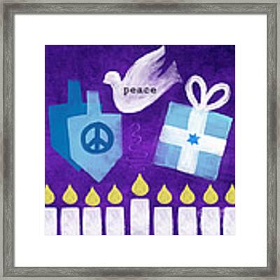 Hanukkah Peace Framed Print by Linda Woods