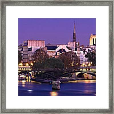 Ile De La Cite And Pont Des Arts / Paris Framed Print by Barry O Carroll