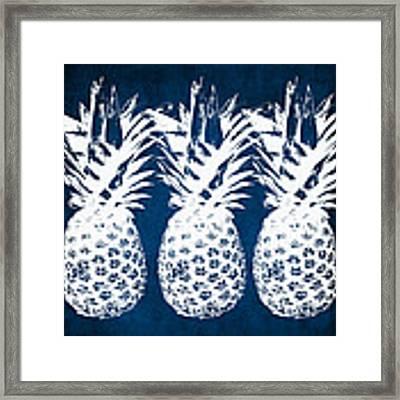Indigo And White Pineapples Framed Print