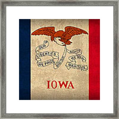 Iowa State Flag Art On Worn Canvas Framed Print