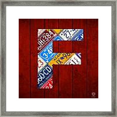 Letter F Alphabet Vintage License Plate Art Framed Print