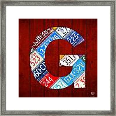 Letter G Alphabet Vintage License Plate Art Framed Print
