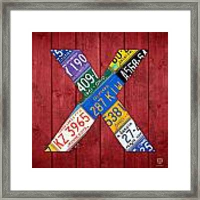 Letter X Alphabet Vintage License Plate Art Framed Print