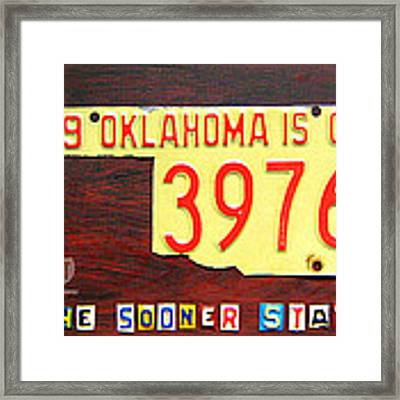 License Plate Map Of Oklahoma By Design Turnpike Framed Print by Design Turnpike