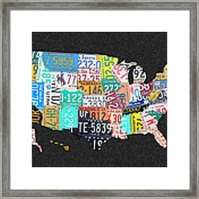 License Plate Map Of The United States On Gray Felt With Black Box Frame Edition 14 Framed Print